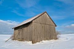 Winter scene with barn Royalty Free Stock Photos