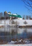 Winter Scene Barn Snow Ice Pond Royalty Free Stock Photography