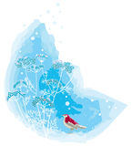 Winter scene with bird. Vector illustration of a red bird near snowy brush Royalty Free Stock Image