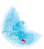 Winter scene with bird. Vector illustration of a red bird near snowy brush Stock Illustration