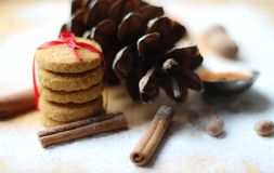 Winter scene.biscuits ties with ribbon. Dried Herbs and Spices like a Christmas background. Christmas Spice Collection. Dried Herbs and Spices like a Christmas stock photo