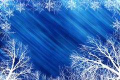 Winter scene with blue backround. Winter scene of tress and snowflakes with blue background vector illustration