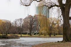 Winter Scene of Boston Commons in Boston, Massachusetts Royalty Free Stock Image
