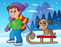 Winter scene with boy and sledge. Vector illustration Stock Photo