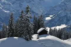Winter scene in Braunwald Royalty Free Stock Photography