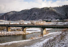 Winter scene - the bridge and river in Takayama, Japan Stock Image