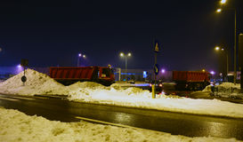 Winter scene in Bucharest. Streets in Bucharest, Romania after a heavy snow stock images
