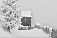 Winter scene in the Carpathian mountains , remote and harsh environment stock images