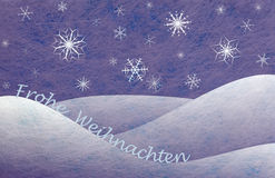 Winter scene, christmas card. Winter scene with snowy mountains and the german words for Merry Christmas and snowflakes, christmas card Stock Image