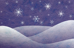 Winter scene, christmas card. Winter scene with snowy mountains and snowflakes, christmas card Stock Photo