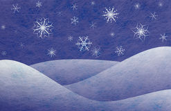 Winter scene, christmas card. Winter scene with snowy mountains and snowflakes, christmas card Stock Image