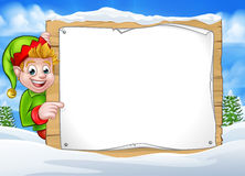 Winter Scene Christmas Pixie Elf Sign Stock Images