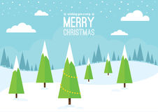 Winter Scene with Christmas Trees Royalty Free Stock Images