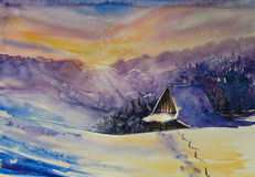 Winter. Scene.Cottage covered with snow,mountains at sunset in background.Picture created with watercolors stock illustration