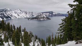 Winter Scene at Crater Lake Volcano snow covered stock photography