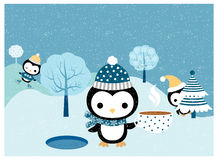 Winter scene with cute penguins. Cute penguins with hats, scarves, skates in winter landscape scene with trees and snow for Christmas and New Year greeting cards Royalty Free Stock Photos