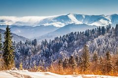 Winter scene, winter fairytale landscape in the mountains stock photos
