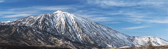 Winter scene of the famous Teide Volcano, in Tenerife canary islands Spain. Stock Photo