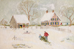 Winter scene of a farm with people. Digitally altered Stock Photo