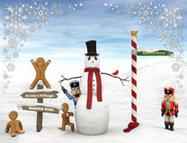 Winter scene with figurines. Royalty Free Stock Photo