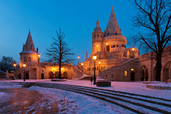 Winter scene of the Fisherman's Bastion, Budapest Royalty Free Stock Photo