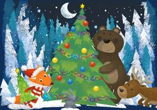 Winter scene with forest animals reindeers bear and fox near christmas tree - traditional scene. Illustration for children royalty free illustration