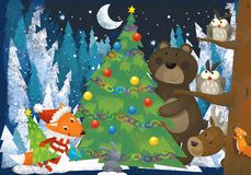 Winter scene with forest animals reindeers bear and fox near christmas tree - traditional scene. Illustration for children vector illustration