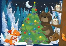 Winter scene with forest animals reindeers bear and fox near christmas tree - traditional scene. Illustration for children stock illustration