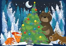 Winter scene with forest animals reindeers bear fox and owl near christmas tree - traditional scene. Illustration for children vector illustration