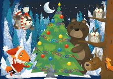 Winter scene with forest animals reindeers bear fox and owl near christmas tree - traditional scene. Illustration for children stock illustration