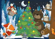 Winter scene with forest animals reindeers bear fox and owl near christmas tree - traditional scene. Illustration for children royalty free illustration