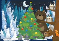 Winter scene with forest animals reindeers and bear near christmas tree - traditional scene. Illustration for children stock illustration