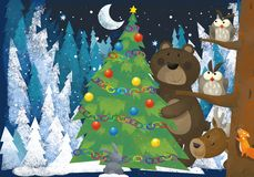 Winter scene with forest animals reindeers and bear near christmas tree - traditional scene. Illustration for children vector illustration