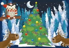 Winter scene with forest animals reindeers and santa claus bear near christmas tree - traditional scene. Illustration for children royalty free illustration