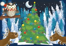 Winter scene with forest animals reindeers and santa claus bear near christmas tree - traditional scene. Illustration for children stock illustration