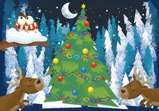 Winter scene with forest animals reindeers and santa claus owl near christmas tree - traditional scene. Illustration for children stock illustration
