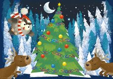 Winter scene with forest animals reindeers and santa claus owl near christmas tree - traditional scene. Illustration for children vector illustration