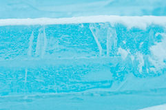 Winter scene with frozen ice-pack ice float and other formations Royalty Free Stock Photo