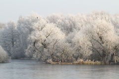 A Winter scene of a frozen lake and frosty trees. Stock Photo