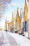 Winter scene with heavy snowfall at a little village in holland, europe Stock Photos