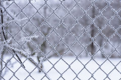 Winter scene hoar frost on wire fencing. Royalty Free Stock Photography