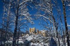 Winter scene with Hohenschwangau Castle stock photography