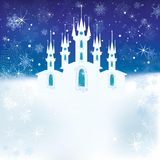 Winter scene with the ice castle stock illustration