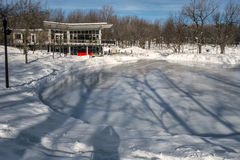 Winter scene ice rink royalty free stock photography