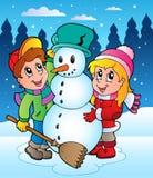 Winter scene with kids 2 vector illustration