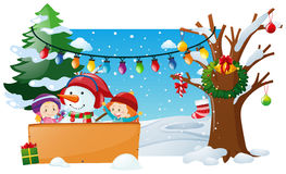 Winter scene with kids and snowman. Illustration Royalty Free Stock Image