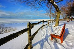 Winter Scene at a Lake. A Canadian winter scene at a lake Stock Photo