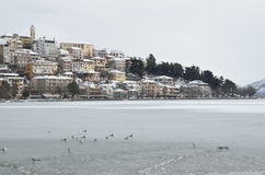 Winter scene at the lake. Winter scene at the southern lakeside of Kastoria, Greece Royalty Free Stock Photos