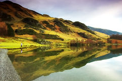 Winter scene in the Lakes. Reflections on Buttermere in winter Stock Photos