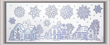 Winter scene landscape with snowflakes and houses silver glitter. Christmas design small town drawing with silver glitter, beautiful houses covered in snow, Xmas Royalty Free Stock Image